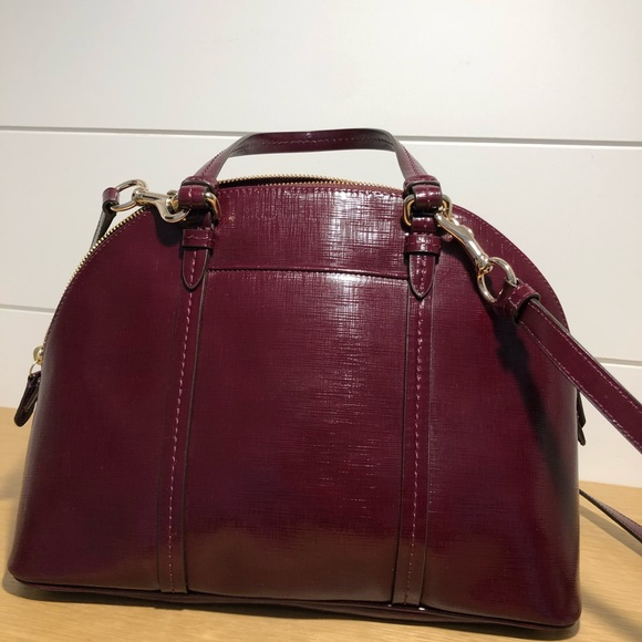Coach Saffiano burgundy patent leather satchel